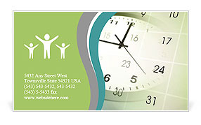 Clock face and calendar composite Business Card Template