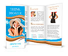 Beautiful woman with hat smiling on a background of blue sky Brochure Templates