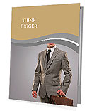 Businessman with a briefcase on grey background. Presentation Folder