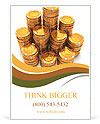 3d rendering of large stacks of gold casino chips on white background Ad Template