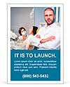Friendly male dentist with assistant and patient at dental clinic Ad Template