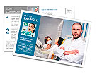 Friendly male dentist with assistant and patient at dental clinic Postcard Template