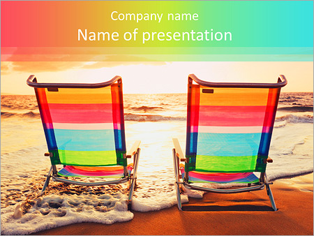 hawaiian vacation sunset concept, two beach chairs at sunset, Modern powerpoint