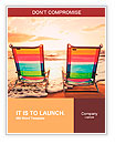 Hawaiian Vacation Sunset Concept, Two Beach Chairs at Sunset Word Templates