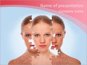 Concept of cosmetic effects, treatment and skin care. face of young woman before and after the proce PowerPoint Templates