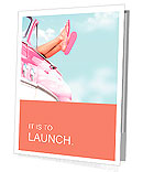 Summer fun vintage car. Legs showing from pink vintage retro car. Freedom, travel and vacation road Presentation Folder