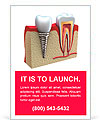 Anatomy of healthy teeth and dental implant in jaw bone. Ad Template