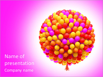 Big bunch of party balloons. Sphere shaped. Isolated on white background. PowerPoint Template