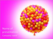 Big bunch of party balloons. Sphere shaped. Isolated on white background. PowerPoint Templates