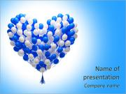 Big bunch of party balloons.Heart shape. Isolated on white background. PowerPoint Templates