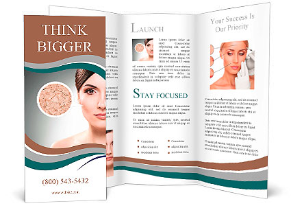 Portrait Of Beautiful Woman Dried Skin Concept Brochure Template - Beautiful brochure templates