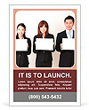 Asian business team holding a blank whiteboard Ad Template