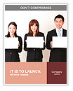 Asian business team holding a blank whiteboard Word Templates