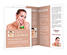 Beauty caucasian young woman applying cosmetic under eyes Brochure Templates