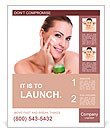 Beauty caucasian young woman applying cosmetic under eyes Poster Templates