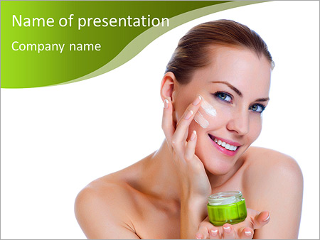 Beauty powerpoint template smiletemplates beauty caucasian young woman applying cosmetic under eyes powerpoint templates toneelgroepblik Images