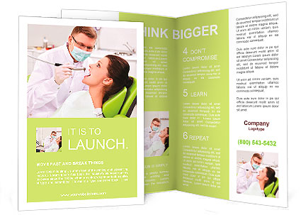 patient on reception at the dentist brochure template design id