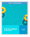 Yellow pool float, pool ring in cool blue refreshing blue pool, room for your text Word Templates