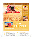 Combine harvesting wheat. Flyer Template