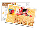 Combine harvesting wheat. Postcard Template