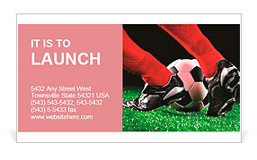 Soccer ball and feet on the football field Business Card Template