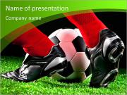 Soccer ball and feet on the football field PowerPoint Templates