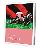 Soccer ball and feet on the football field Presentation Folder