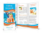 Pretty girl with flippers on the beach Brochure Templates