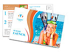 Pretty girl with flippers on the beach Postcard Templates