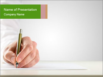 A male hand with white sleeve holding a ballpoint PowerPoint Template - Slide 1