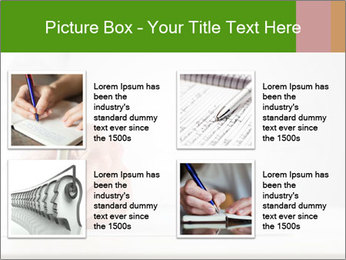 A male hand with white sleeve holding a ballpoint PowerPoint Template - Slide 14