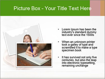 A male hand with white sleeve holding a ballpoint PowerPoint Template - Slide 20