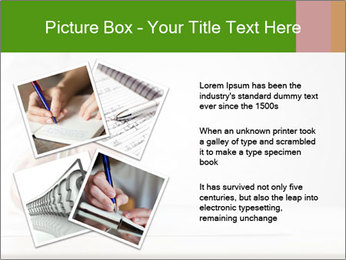 A male hand with white sleeve holding a ballpoint PowerPoint Template - Slide 23