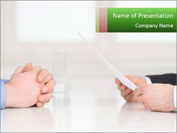 Interview. Close-up of two businesswoman around the table PowerPoint Template - Slide 1