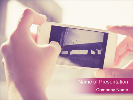 Teenagers With Phone PowerPoint Template