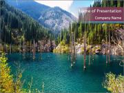 Kaindy Lake in Tien Shan mountain PowerPoint Template
