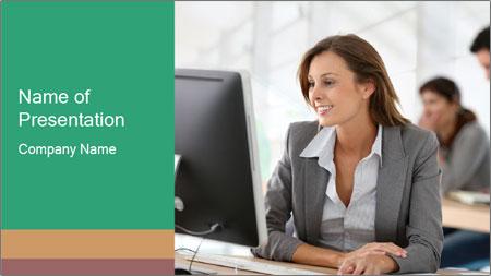 Businesswoman working on desktop computer PowerPoint Template