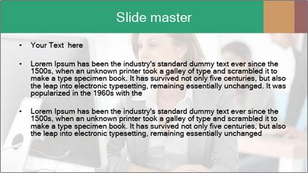Businesswoman working on desktop computer PowerPoint Template - Slide 2