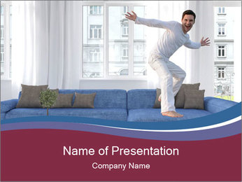 Man dancing on a blue couch PowerPoint Template - Slide 1