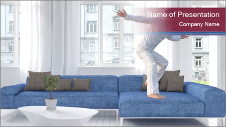 Man dancing on a blue couch PowerPoint Template
