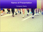 Fitness and healthy active lifestyle feet on road PowerPoint Template