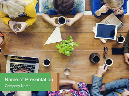 People with Startup Business Talking in a Cafe PowerPoint Template
