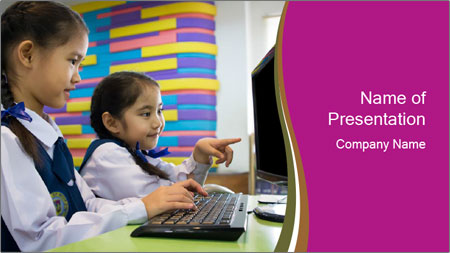Asian girl using computer PowerPoint Template