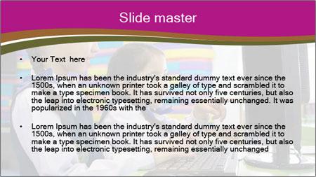 Asian girl using computer PowerPoint Template - Slide 2
