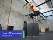 Woman In Fitness Studio PowerPoint Template