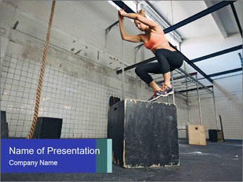 Woman In Fitness Studio PowerPoint Template - Slide 1