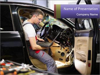 Man Examining Car Modèles des présentations  PowerPoint