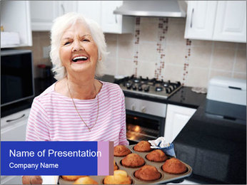 Grandmother Baking Cupcakes PowerPoint Template - Slide 1