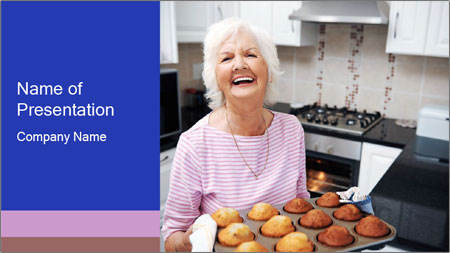Grandmother Baking Cupcakes PowerPoint Template
