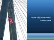 Bridge And American Flag PowerPoint Template
